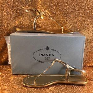 Calzature Donna Gold Leather  Prada Sandal